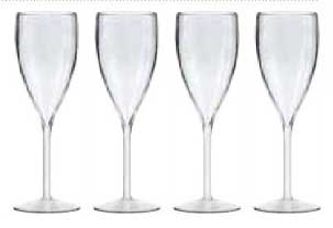 Unbreakable clear Champagne glasses